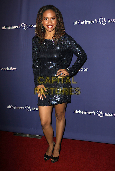 "TRACIE THOMS.18Th Annual ""A Night at Sardi's"" Benefitting The Alzheimer's Association held At The Beverly Hilton Hotel, Beverly Hills, California, USA..March 18th, 2010.full length  sequins sequined black blue long sleeves dress hand on hip.CAP/ADM/KB.©Kevan Brooks/AdMedia/Capital Pictures."