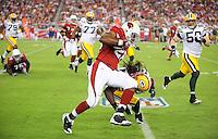 Aug. 28, 2009; Glendale, AZ, USA; Arizona Cardinals running back (26) Beanie Wells runs the ball against the Green Bay Packers during a preseason game at University of Phoenix Stadium. Mandatory Credit: Mark J. Rebilas-