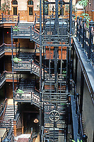 Los Angeles: Bradbury Building. National Historic Landmark in 1977. Popular building for movie scenes. Photo '78.