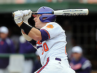 Clemson's Doug Hogan hits during a game between the Mercer Bears and Clemson Tigers at Doug Kingsmore Stadium on Feb. 24, 2008, in Clemson, S.C. Clemson won 10-3. Photo by:  Tom Priddy/Four Seam Images