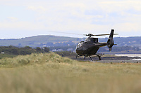 Helicopters busy flying guests in during Saturday's Round 3 of the 2018 Dubai Duty Free Irish Open, held at Ballyliffin Golf Club, Ireland. 7th July 2018.<br /> Picture: Eoin Clarke | Golffile<br /> <br /> <br /> All photos usage must carry mandatory copyright credit (&copy; Golffile | Eoin Clarke)