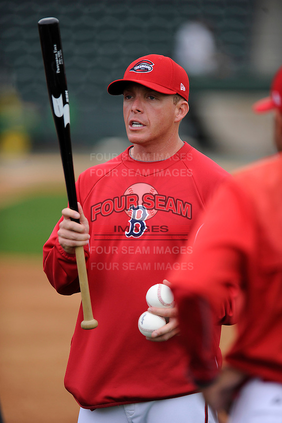 Manager Darren Fenster (3) of the Greenville Drive during a Media Day first workout of the season on Tuesday, April 7, 2015, at Fluor Field at the West End in Greenville, South Carolina. (Tom Priddy/Four Seam Images)