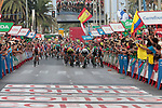 Sam Bennett (IRL) Bora-Hansgrohe leads the sprint for the finish line at the end of Stage 3 of La Vuelta 2019 running 188km from Ibi. Ciudad del Juguete to Alicante, Spain. 26th August 2019.<br /> Picture: Colin Flockton | Cyclefile<br /> <br /> All photos usage must carry mandatory copyright credit (© Cyclefile | Colin Flockton)