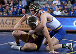SIOUX FALLS, SD - NOVEMBER 11: Logan Peterson from South Dakota State battles with Josh Shields from Arizona State during their 165 pound match Sunday afternoon at the Sanford Pentagon in Sioux Falls, SD.  (Photo by Dave Eggen/Inertia)