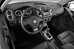 High angle dashboard view of 2010 Volkswagen Tiguan Wolfsburg SUV  Stock Photo