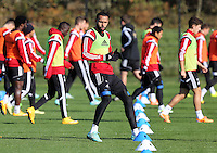 Pictured: Kyle Bartley Wednesday 05 November 2014<br /> Re: Swansea City FC players training at Fairwood training ground, ahead of their Premier League game against Arsenal on Sunday.