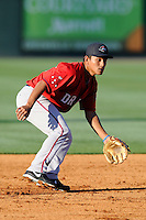 Infielder/shortstop Tzu-Wei Lin (36) of the Greenville Drive works out on the team's Media Day first workout on Tuesday, April 1, 2014, at Fluor Field at the West End in Greenville, South Carolina. Lin is the Boston Red Sox No. 28 prospect, according to Baseball America. (Tom Priddy/Four Seam Images)