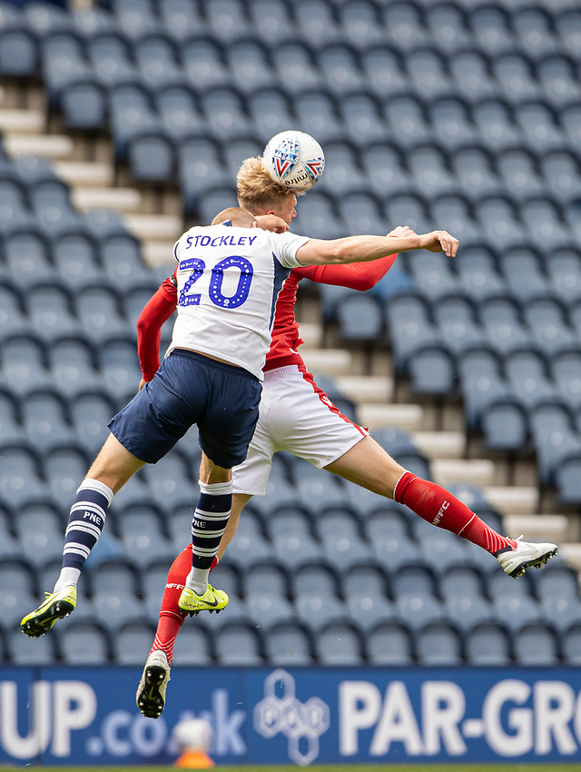 Preston North End's Jayden Stockley (left) competing with Nottingham Forest's Joe Worrall <br /> <br /> Photographer Andrew Kearns/CameraSport<br /> <br /> The EFL Sky Bet Championship - Preston North End v Nottingham Forest - Saturday 11th July 2020 - Deepdale Stadium - Preston <br /> <br /> World Copyright © 2020 CameraSport. All rights reserved. 43 Linden Ave. Countesthorpe. Leicester. England. LE8 5PG - Tel: +44 (0) 116 277 4147 - admin@camerasport.com - www.camerasport.com