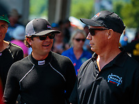 Jun 17, 2018; Bristol, TN, USA; NHRA top fuel driver Steve Torrence (left) with Pat Dakin during the Thunder Valley Nationals at Bristol Dragway. Mandatory Credit: Mark J. Rebilas-USA TODAY Sports