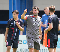 Lincoln City manager Danny Cowley, centre, during the pre-match warm-up<br /> <br /> Photographer Chris Vaughan/CameraSport<br /> <br /> Football Pre-Season Friendly (Community Festival of Lincolnshire) - Gainsborough Trinity v Lincoln City - Saturday 6th July 2019 - The Martin & Co Arena - Gainsborough<br /> <br /> World Copyright © 2018 CameraSport. All rights reserved. 43 Linden Ave. Countesthorpe. Leicester. England. LE8 5PG - Tel: +44 (0) 116 277 4147 - admin@camerasport.com - www.camerasport.com