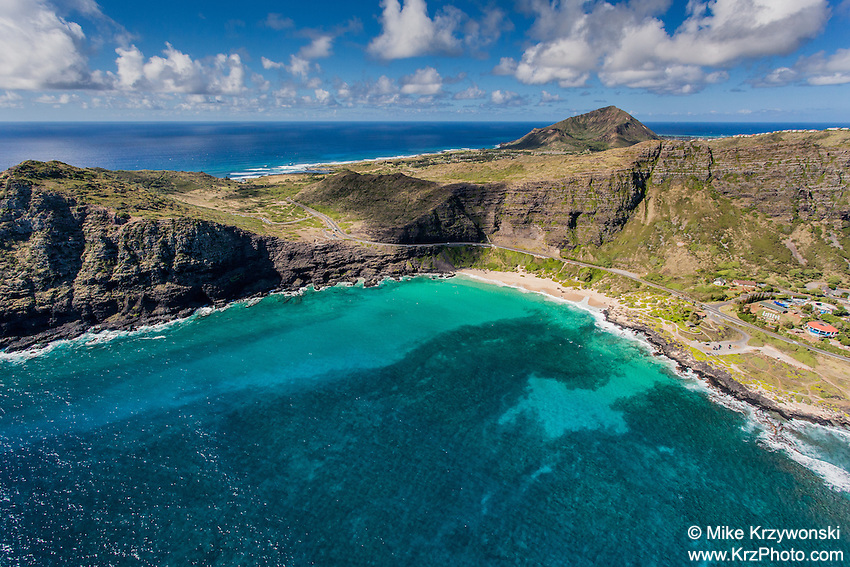Aerial view of Makapuu Beach, Oahu