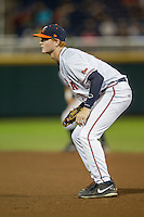 Virginia Cavaliers first baseman Pavin Smith (10) on defense during the NCAA College baseball World Series against the Florida Gators on June 15, 2015 at TD Ameritrade Park in Omaha, Nebraska. Virginia defeated Florida 1-0. (Andrew Woolley/Four Seam Images)