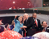 Former Secretary of Defense Dick Cheney, the Republican nominee for Vice President of the United States  and his wife, Lynne, on stage following the acceptance speeches at the 2000 Republican National Convention in Philadelphia, PA on 3 August, 2000.  Governor George W. Bush (Republican of Texas), the Republican nominee for President of the United States can be seen at right.<br /> Credit: Ron Sachs / CNP