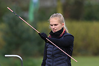 Rikke Nordvik (NOR) warming up on the 1st tee during Round 1 of the Irish Girls U18 Open Stroke Play Championship at Roganstown Golf &amp; Country Club, Dublin, Ireland. 05/04/19 <br /> Picture:  Thos Caffrey / www.golffile.ie