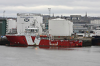 General view of Aberdeen harbour with Oil Supply ship Voss Venturer docked at Albert Quay..