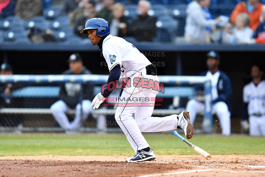 Asheville Tourists left fielder Daniel Montano (24) runs to first base during a game against the Augusta GreenJackets at McCormick Field on April 5, 2019 in Asheville, North Carolina. The  Tourists defeated the GreenJackets 5-0. (Tony Farlow/Four Seam Images)