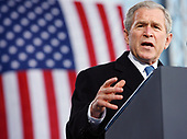 New York, NY - November 11, 2008 -- United States President President George W. Bush delivers remarks at a Veteran's Day rededication ceremony of the Intrepid Sea, Air and Space Museum in New York City on Tuesday, November 11, 2008.<br /> Credit: John Angelillo - Pool via CNP