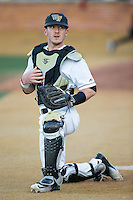 Wake Forest Demon Deacons catcher Ben Breazeale (9) prior to the game against the Georgetown Hoyas at David F. Couch Ballpark on February 19, 2016 in Winston-Salem, North Carolina.  The Demon Deacons defeated the Hoyas 3-1.  (Brian Westerholt/Four Seam Images)