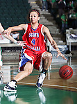 South Alabama Jaguars guard Vannessa Simmons (4) in action during the NCAA Women's basketball game between the South Alabama Jaguars and the University of North Texas Mean Green at the North Texas Coliseum,the Super Pit, in Denton, Texas. South Alabama defeated UNT 79 to 61.