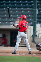 Orem Owlz catcher Griffin Barnes (28) at bat during a Pioneer League game against the Missoula Osprey at Ogren Park Allegiance Field on August 19, 2018 in Missoula, Montana. The Missoula Osprey defeated the Orem Owlz by a score of 8-0. (Zachary Lucy/Four Seam Images)