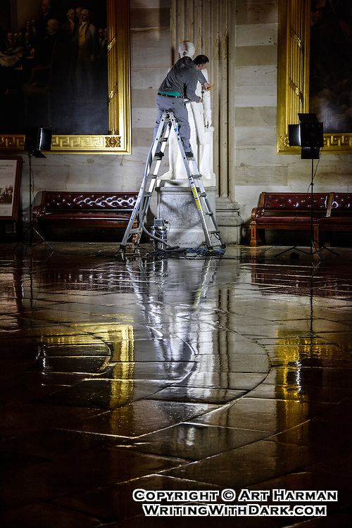 """Hamilton's Valet"" by Art Harman. Late at night the staff of the U.S. Capitol work to keep America's treasures and history clean and ready for visitors."