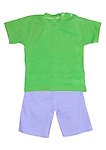 Baby boy's green t-shirt and purple shorts set isolated on white background