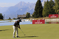 Ryan Fox (NZL) putts on the 13th green during Sunday's Final Round 4 of the 2018 Omega European Masters, held at the Golf Club Crans-Sur-Sierre, Crans Montana, Switzerland. 9th September 2018.<br /> Picture: Eoin Clarke | Golffile<br /> <br /> <br /> All photos usage must carry mandatory copyright credit (© Golffile | Eoin Clarke)