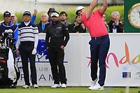 Oliver Fisher (ENG) tees off the 1st tee during Saturday's rain delayed Round 2 of the Andalucia Valderrama Masters 2018 hosted by the Sergio Foundation, held at Real Golf de Valderrama, Sotogrande, San Roque, Spain. 20th October 2018.<br /> Picture: Eoin Clarke | Golffile<br /> <br /> <br /> All photos usage must carry mandatory copyright credit (&copy; Golffile | Eoin Clarke)