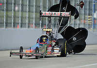 Nov. 11, 2011; Pomona, CA, USA; NHRA top fuel dragster driver Terry McMillen during qualifying at the Auto Club Finals at Auto Club Raceway at Pomona. Mandatory Credit: Mark J. Rebilas-.