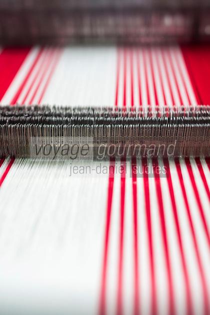 France, Pyrénées-Atlantiques (64), Pays-Basque,  Ascain: Atelier de tissage de linge basque ,  Lartigue 1910 // France, Pyrenees Atlantiques, Basque Country, Ascain, Basque weaving, Lartigue 1910