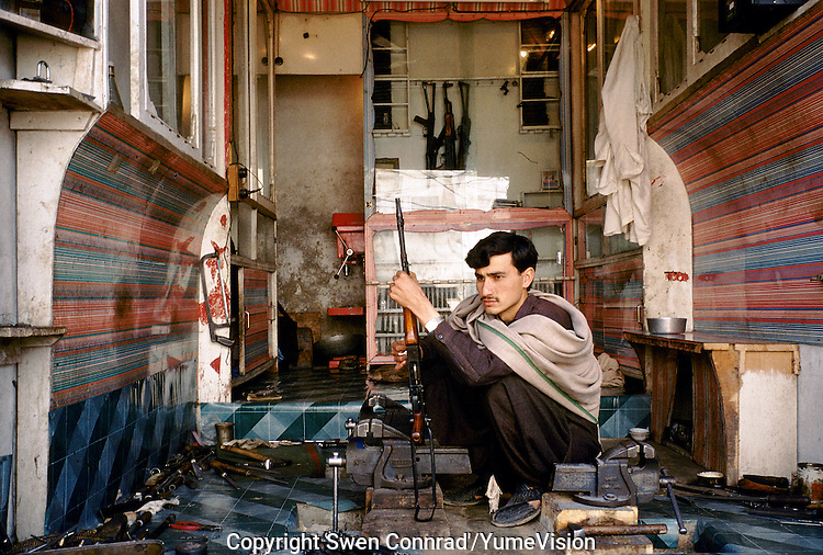 A repairing shop of rifle's and Kalashnikovs. Darra town in Pakistan clandestinely provides arms to more than eight Central Asian countries.