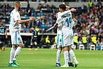 Real Madrid Achraf Hakimi, Karim Benzema and Nacho Fernandez celebrating a goal during La Liga match between Real Madrid and Celta de Vigo at Santiago Bernabeu Stadium in Madrid, Spain. May 12, 2018. (ALTERPHOTOS/Borja B.Hojas)