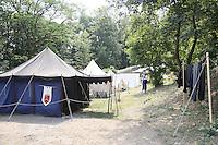 MC Sommer Ritterlager der Mediavelis Cultus (INteressengemeinschaft für mittelalterliche Lebensart) im Hof der Burg Frankenstein