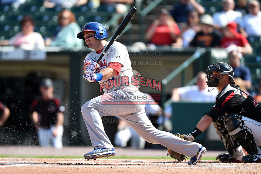 Buffalo Bisons third baseman Andy LaRoche (17) at bat during the first game of a doubleheader against the Rochester Red Wings on July 6, 2014 at Frontier Field in Rochester, New  York.  Rochester defeated Buffalo 6-1.  (Mike Janes/Four Seam Images)