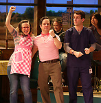 "Lenne Klingaman and Christopher Fitzgerald with Joey McIntyre during his debut bows in Broadway's  ""Waitress"" at The Brooks Atkinson Theatre on February 4, 2019 in New York City."