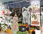 Halloween display in shop window in town centre of Tidworth, Wiltshire, England, UK