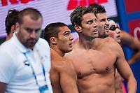 (L to R) SANTUCCI Michele, DOTTO Luca, ORSI Marco ITA<br /> 4X100 Freestyle Relay Men Heats<br /> Swimming - Kazan Arena<br /> Day10 02/08/2015<br /> XVI FINA World Championships Aquatics Swimming<br /> Kazan Tatarstan RUS July 24 - Aug. 9 2015 <br /> Photo A.Masini/Deepbluemedia/Insidefoto