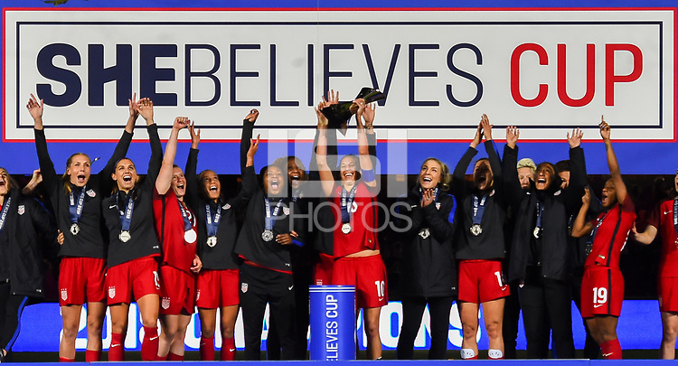 Orlando City, FL - Wednesday March 07, 2018: USWNT SheBelieves Cup 2018 Champions during a 2018 SheBelieves Cup match between the women's national teams of the United States (USA) and England (ENG) at Orlando City Stadium.