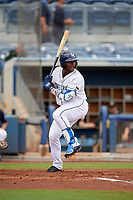 Charlotte Stone Crabs Moises Gomez (21) bats during a Florida State League game against the Bradenton Maruaders on August 7, 2019 at Charlotte Sports Park in Port Charlotte, Florida.  Charlotte defeated Bradenton 3-2 in the second game of a doubleheader.  (Mike Janes/Four Seam Images)
