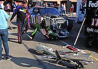 Oct. 11, 2009; Fontana, CA, USA; The car of NASCAR Sprint Cup Series driver Denny Hamlin in the garage after crashing during the Pepsi 500 at Auto Club Speedway. Mandatory Credit: Mark J. Rebilas-