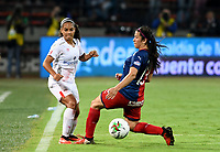 MEDELLIN - COLOMBIA, 30-09-2019: Laura Aguirre del Medellín disputa el balón con Gisela Robledo de América durante partido por la final vuelta entre Deportivo Independiente Medellín y América de Cali como parte de la Liga Femenina Águila 2019 jugado en el estadio Atanasio Girardot de la ciudad de Medellín. / Laura Aguirre of Medellin vies for the ball with Gisela Robledo of America during atch for the date 3 between Deportivo Independiente Medellin and America de Cali as part Aguila Women League 2019 played at Atanasio Girardot stadium in Medellin city. Photo: VizzorImage / Cristian Alvarez / Cont