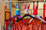 Rebecca Mason, Lauren Lawlor and Evie O'Sullivan on the parallel bars at the Tralee Gymnastics Club in the Clash Business Park on Monday