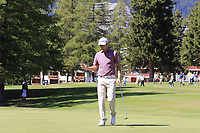 Daniel Brooks (ENG) sinks his birdie putt on the 5th green during Sunday's Final Round 4 of the 2018 Omega European Masters, held at the Golf Club Crans-Sur-Sierre, Crans Montana, Switzerland. 9th September 2018.<br /> Picture: Eoin Clarke | Golffile<br /> <br /> <br /> All photos usage must carry mandatory copyright credit (© Golffile | Eoin Clarke)
