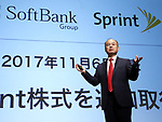 November 6, 2017, Tokyo, Japan - Japan's telecom giant Softbank president Masayoshi Son announces the company's first half financial result in Tokyo on Monday, November 6, 2017. Softbank and Deutsche Telecom announced their U.S. subsidiaries Sprint  and T-Mobile US called off their merger talks.    (Photo by Yoshio Tsunoda/AFLO) LWX -ytd-