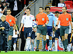 John Terry captain of England leads out the teams during the Friendly International match at Wembley Stadium, London. Picture date 28th May 2008. Picture credit should read: Simon Bellis/Sportimage
