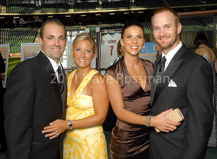 Tim Byrdak and his wife Heather with Morgan and Jeff Keppinger at the Astros Wives Gala at Minute Maid Park Thursday Aug. 06, 2009.(Dave Rossman/For the Chronicle)