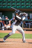 Jonathan Piron (2) of the Grand Junction Rockies at bat against the Ogden Raptors in Pioneer League action at Lindquist Field on July 5, 2015 in Ogden, Utah. Ogden defeated Grand Junction 12-2. (Stephen Smith/Four Seam Images)