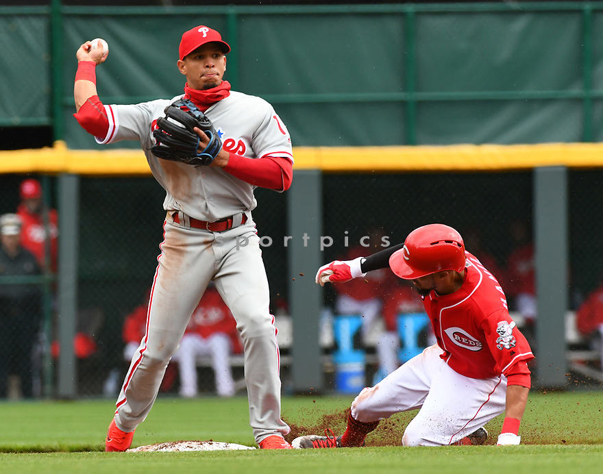 Philadelphia Phillies Cesar Hernandez (16) during a game against the Cincinnati Reds on April 6, 2017 at Great American Ballpark in Cincinnati, OH. The Reds beat the Phillies 4-7.