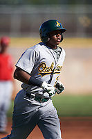 Oakland Athletics Eric Marinez (21) during an instructional league game against the Los Angeles Angels on October 9, 2015 at the Tempe Diablo Stadium Complex in Tempe, Arizona.  (Mike Janes/Four Seam Images)