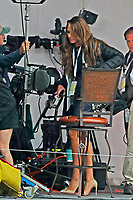 Holly Sonders gets ready to go on the air on the Fox Sports TV set during the Wednesday practice round of the 118th U.S. Open Championship at Shinnecock Hills Golf Club in Southampton, NY, USA. 13th June 2018.<br /> Picture: Golffile | Brian Spurlock<br /> <br /> <br /> All photo usage must carry mandatory copyright credit (&copy; Golffile | Brian Spurlock)